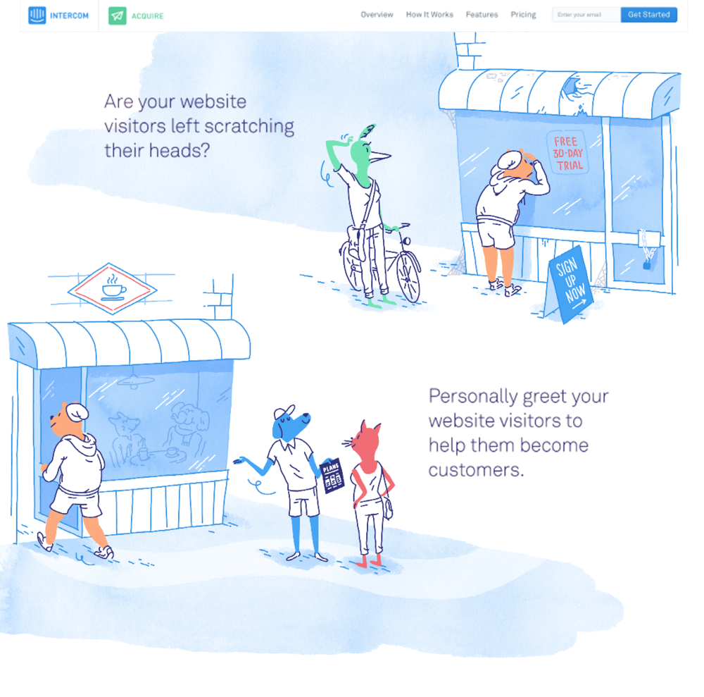 The Intercom homepage during the time of Quentin's  animal-centric brand system