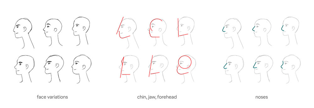 An exploration of various face shapes to ensure a robust, honest variety of character designs. Sourced from Jennifer's case study,  Your Face Here