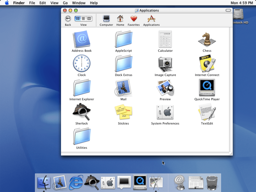 An example of the  Aqua  aesthetic, as seen in an early release of Mac OS X. Sourced from Stephen Hackett's  Aqua Screenshot Library .