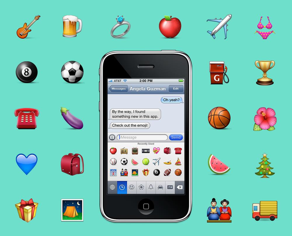 A selection of  Apple's original emoji set , created in 2008 by Angela Guzman and Raymond Sepulveda