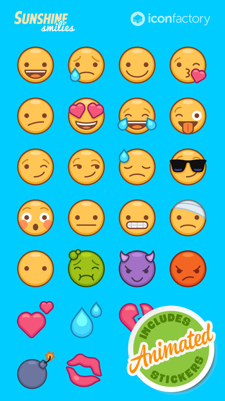 The Iconfactory's  Sunshine Smilies  sticker pack
