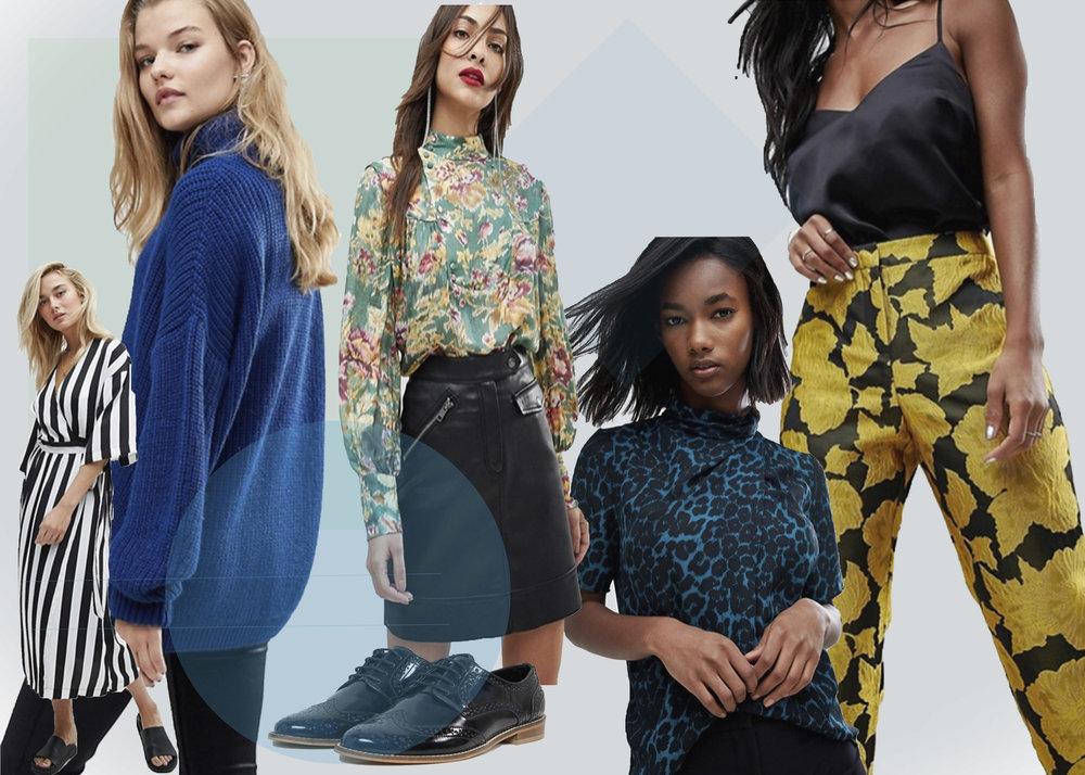 S tribet kjole ,  Leopard bluse,   Blå strik,   Bukser,   Sko,   Blomstret bluse (reklamelinks)
