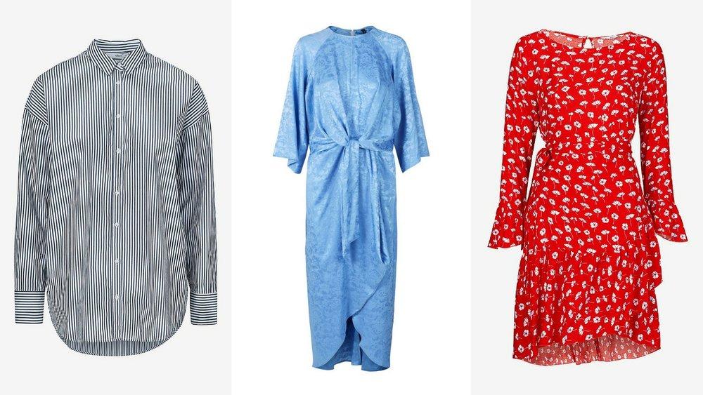 Reklamelinks:  Stribet skjorte ,  Blå kjole ,  Rød kjole