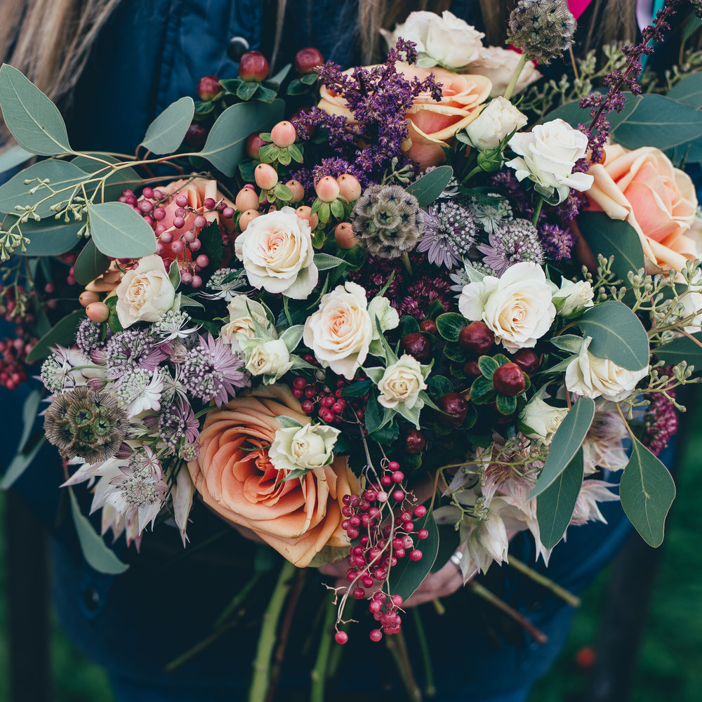 Red and Pink Wedding Bouquet at Spring Cottage