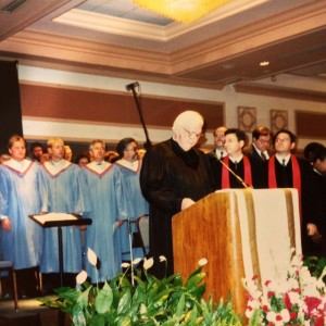 Oct 9, 1994: New York State Supreme Court justice William J. Ostrowski addresses guests as Paul and I look on during the launch of our ministry in Washington, DC.