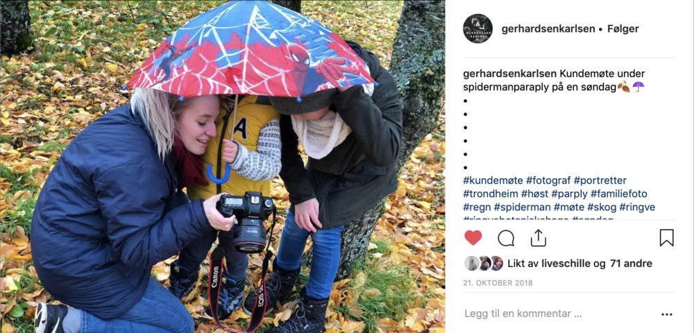 Vi har hatt kundemøter under Spiderman-paraplyer!