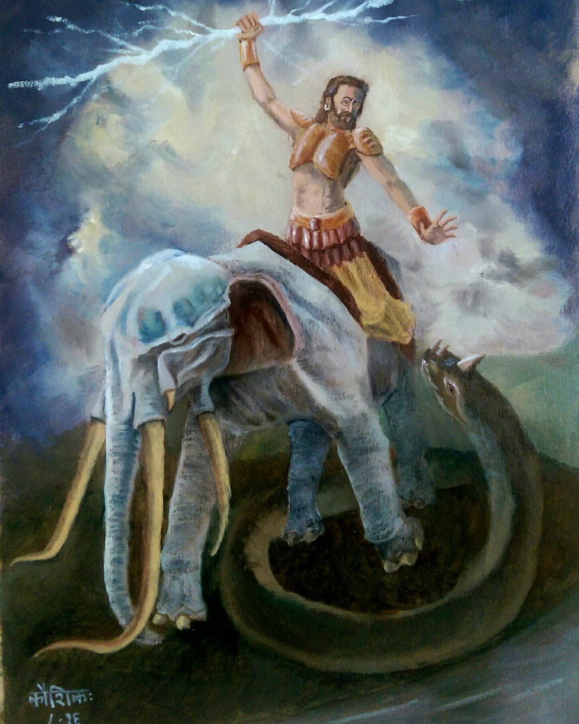 Indra fights Vritra with his thunder.  Source .
