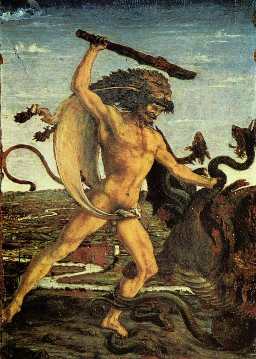 Hercules, depicted here as a giant, slays the Lernean Hydra. Notice how the seprentine figure is below the hero in all depictions. Source:  Antonio del Pollaiolo