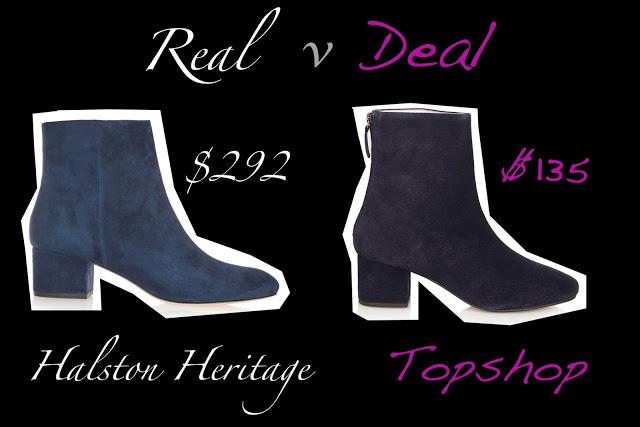 Blue suede shoes, real versus deal, halston versus topshop