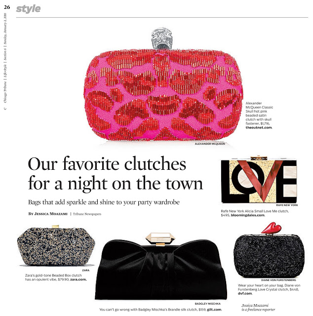holiday clutches in the Chicago Tribune