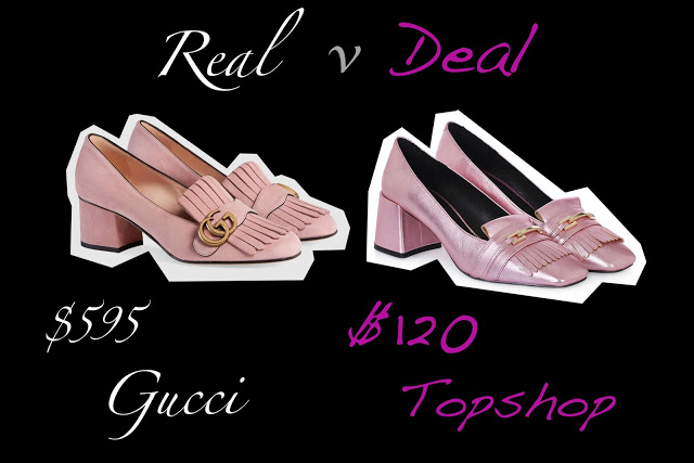 Real versus Deal featuring Gucci pink suede pump an Topshop metallic pump