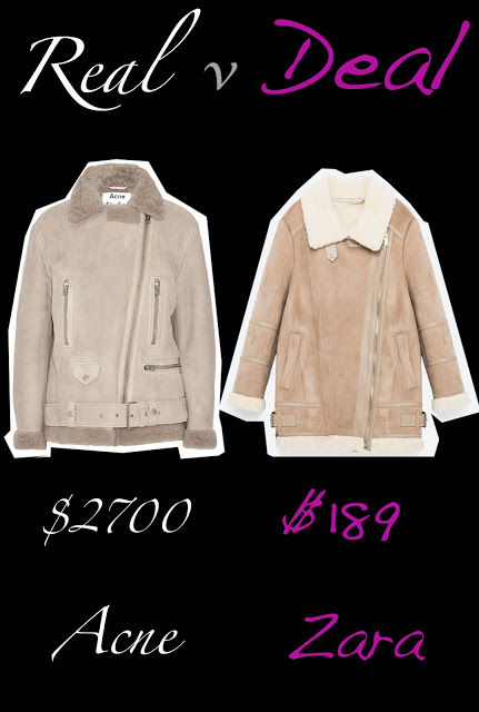 Real versus Deal featuring Acne studios versus Zara shearling coat