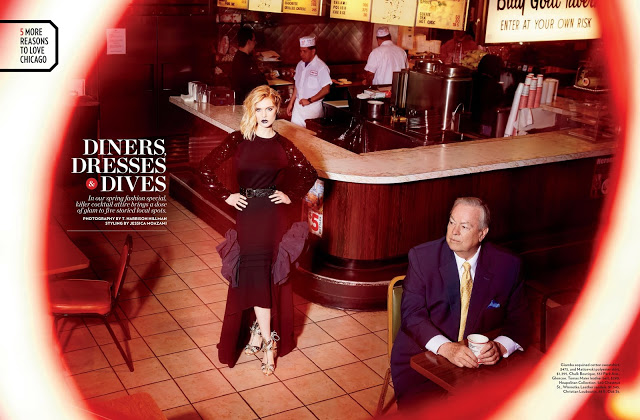 Chicago Magazine's Diners, Dresses & Dives fashion shoot, shot at Billy Goat