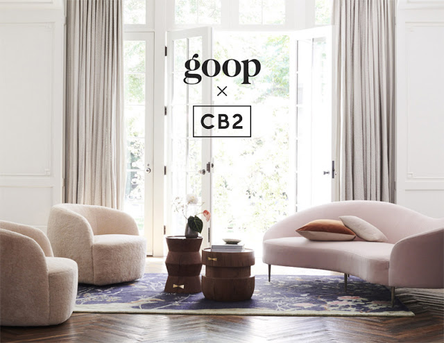 Collection consists of a mid-century Curvo pink sofa, intricate parisian-inspired china and comfy meditation pillows.