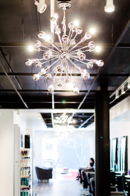 Bentley Hair and Beauty Salon, in the Gold Coast features modern chandelier and plush velvet accents.
