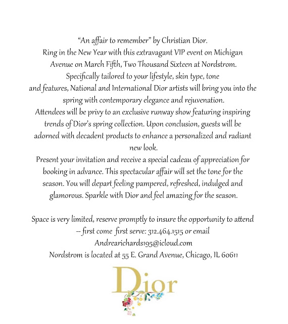 Dior's An Affair to Remember invite at Nordstrom