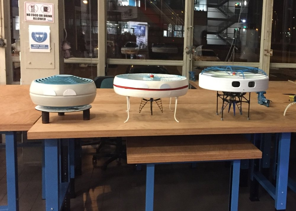Drone prototypes from previous Blue Jay Eindhoven teams.   Left to right:  Concept model 2015; 2015/16 drone; and 2016/17 drone.