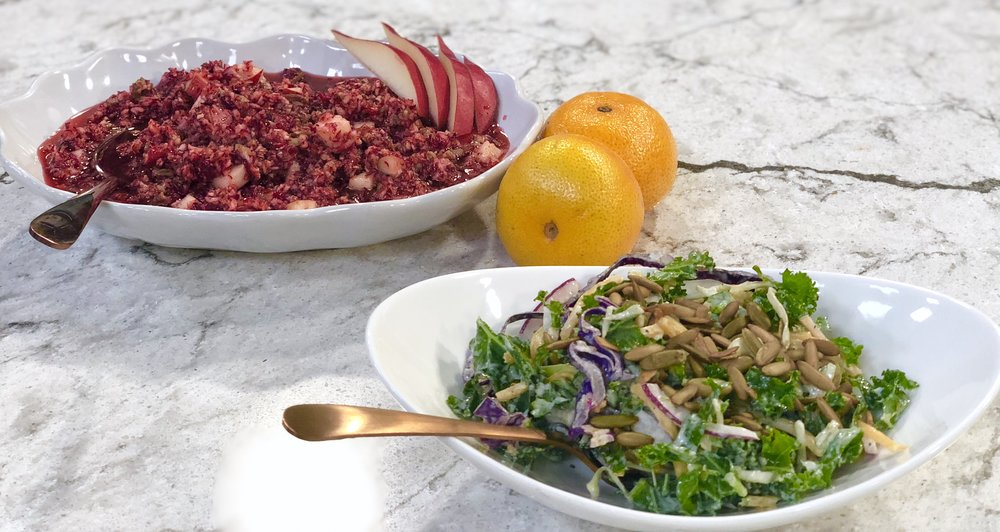 Fresh Cranberry + Pear Salad and Brussels Sprout + Kale Salad