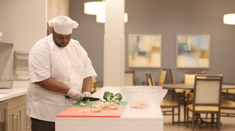 Chef Steve prepares lunch for our Guests at the Guion Road Center.