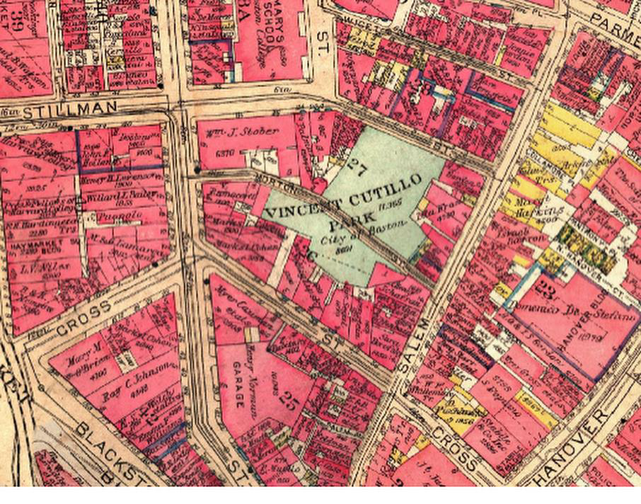 historical map of where Vincent Cutillo Park is located in the North End of Boston, MA