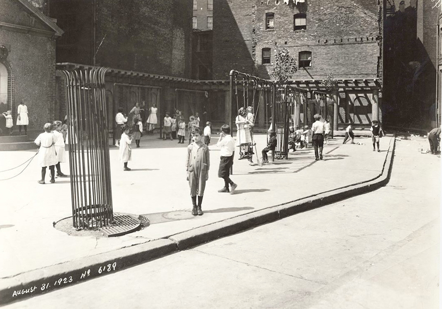 children playing in Cutillo Park in August 1923