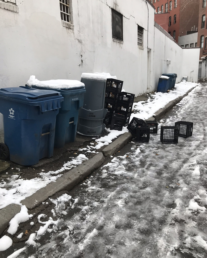 trash, unkempt grounds in winter months