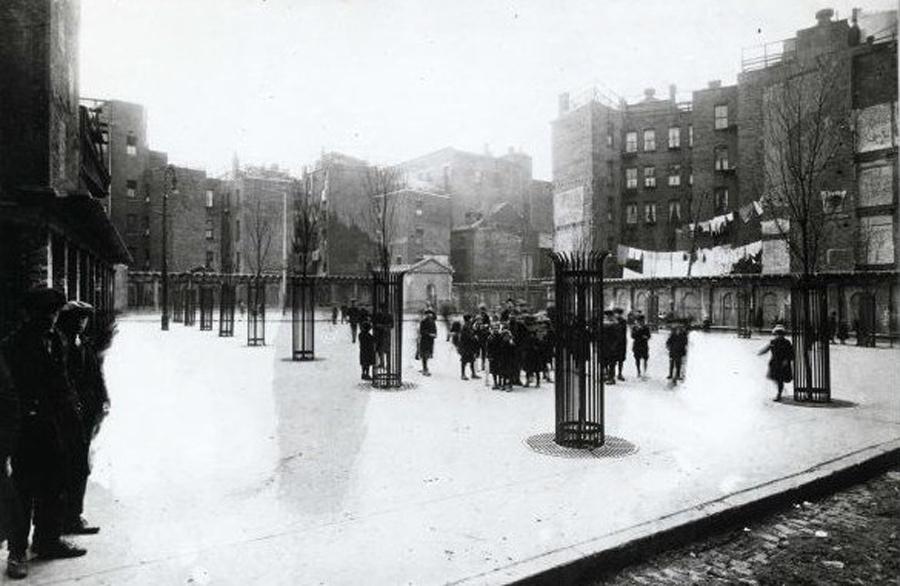 kids standing in cutillo park, north end, boston, ma in the 1920s