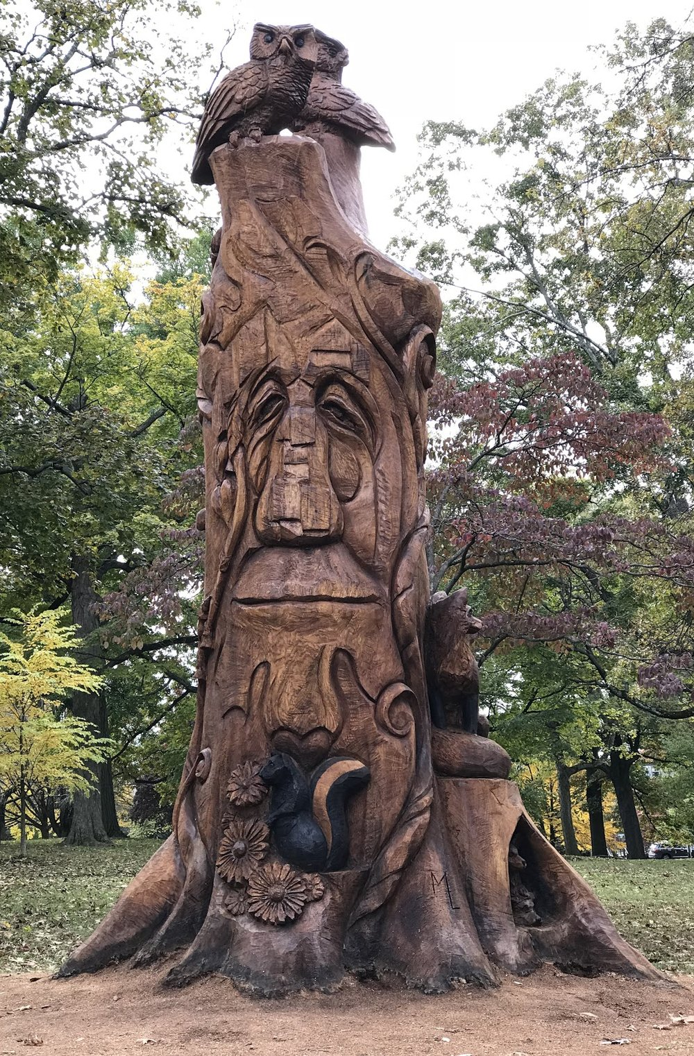 Beginning this fall, visitors of Marshall Square Park in West Chester can enjoy the meticulously carved statue of an 18-foot tall and over 125-year-old red oak. - After three weeks of laborious work, chainsaw artist Marty Long created a breathtaking sculpture from a newly cut down tree. The tree was planned originally to be taken down because of the danger it posed to pedestrians; however, the process was stopped before the job was complete due to issues with the contractor. The statue is now ornamented with various animals, and houses a friendly gnome. The extravagantly decorated tree brings a new aspect to life in the Borough as residents and visitors enjoy the view.