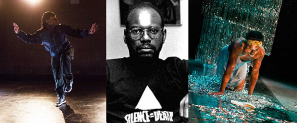 Left: Performance by Ni'Ja Whitson, photo by Scott Shaw. Middle: Marlon Riggs, photo by Ron Simmons. Right: Performance by Kiyan Williams, photo by Heather Kresge.