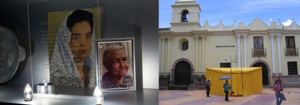 Left: Suzanne Lacy and Pilar Rañio-Alcalá,  Skin of Memory Revisited ,2011. Courtesy of the artist. Right: Pablo Helguera,  The School of Panamerican Unrest , 2006. Courtesy of the artist.
