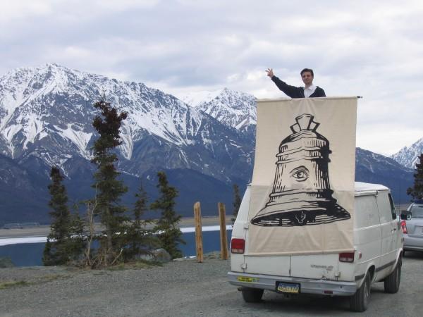Pablo Helguera near Tok, Alaska, May 2006. Photo by Sean Arden.