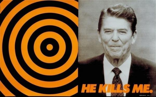 Donald Moffett,  He Kills Me , 1987. Courtesy of the artist and Marianne Boesky Gallery, New York, Aspen. © Donald Moffett