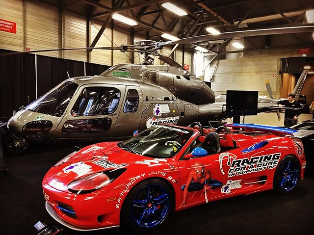 @racingforacure.ca Reaching New Heights!!! 🚁🚘 Stop by our booth at the @edmontonmotorshow and see what all the buzz is about. Synergy Aviation will be giving 100 wonderful children from the @stollerykids hospital a free helicopter tour for their annual fundraising event in June. Pop in and see how you can be apart of this amazing experience! #flysynergy #racingforacure #yegkids #edmontonmotorshow #stollerykids #carshow #aviationdisplay #yeggers #edmonton #lamborghini #buggati #ferrari #as355 #flywithacause #fordgt #jaguar