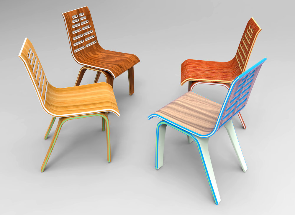 Laminated bent wood chairs