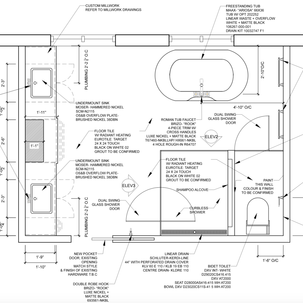 TECHNICAL DRAWINGS - StyleHaus Interiors prepares technical drawings in AutoCAD such as millwork floor plans and elevations, electrical, tile and plumbing layouts.