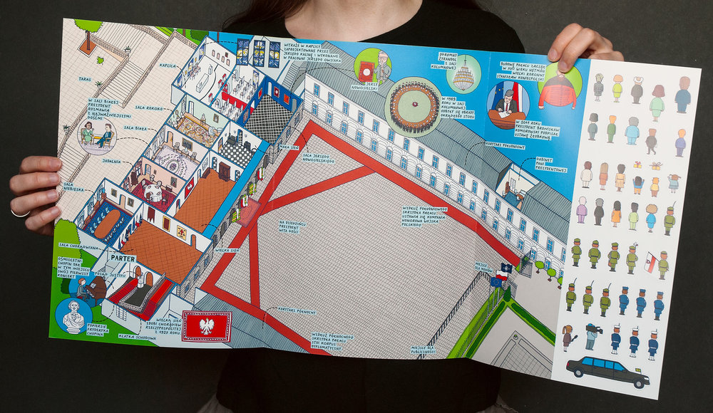 Map of Presidential Palace with cutout characters.