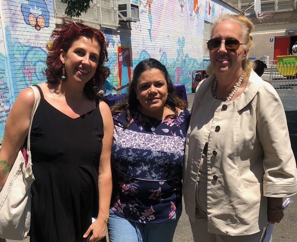 Benedetta with Denise Desjardin (Principal of PS242) and Gale Brewer (Manhattan Borrough President) in June 2018