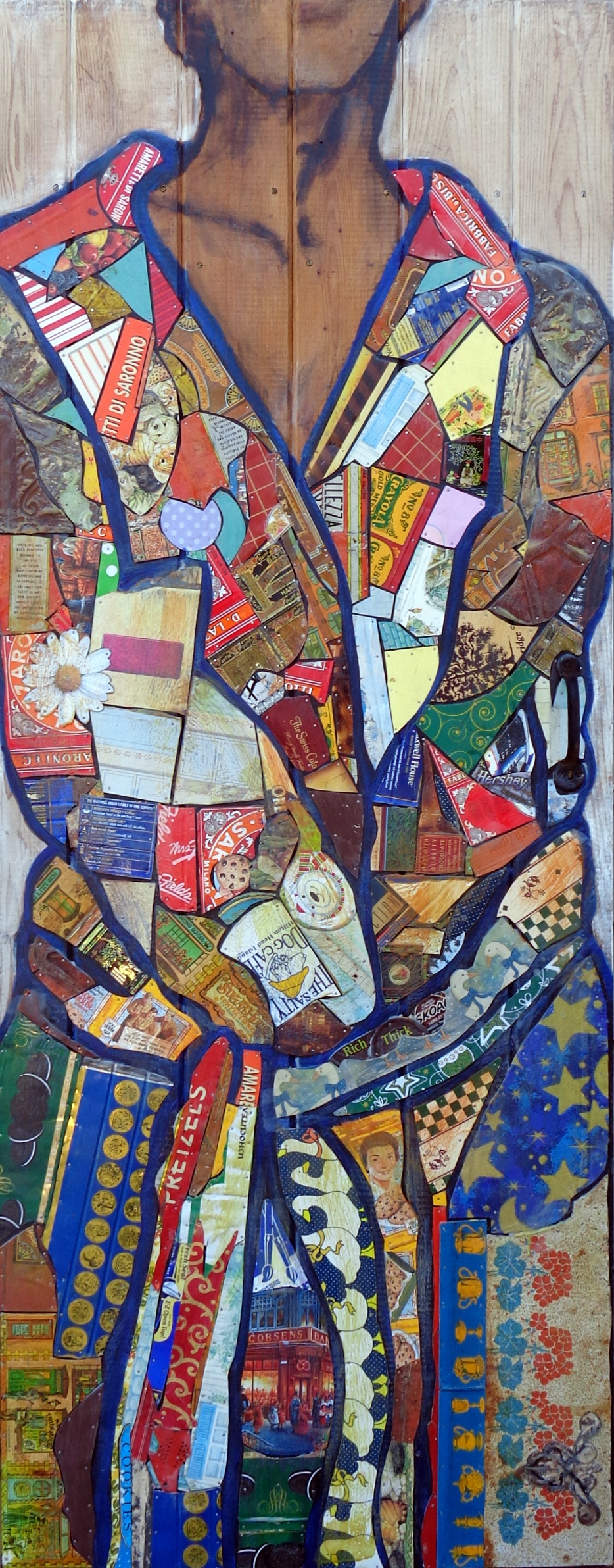 """Jospeh's Coat"" Tin Collage/Encaustic 62x32"" SOLD"