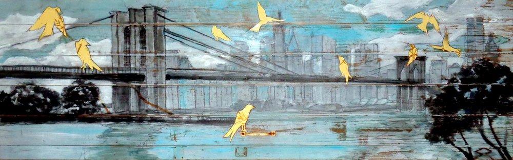 """""""Brooklyn Bridge Birds"""" 18x52"""" SOLD"""