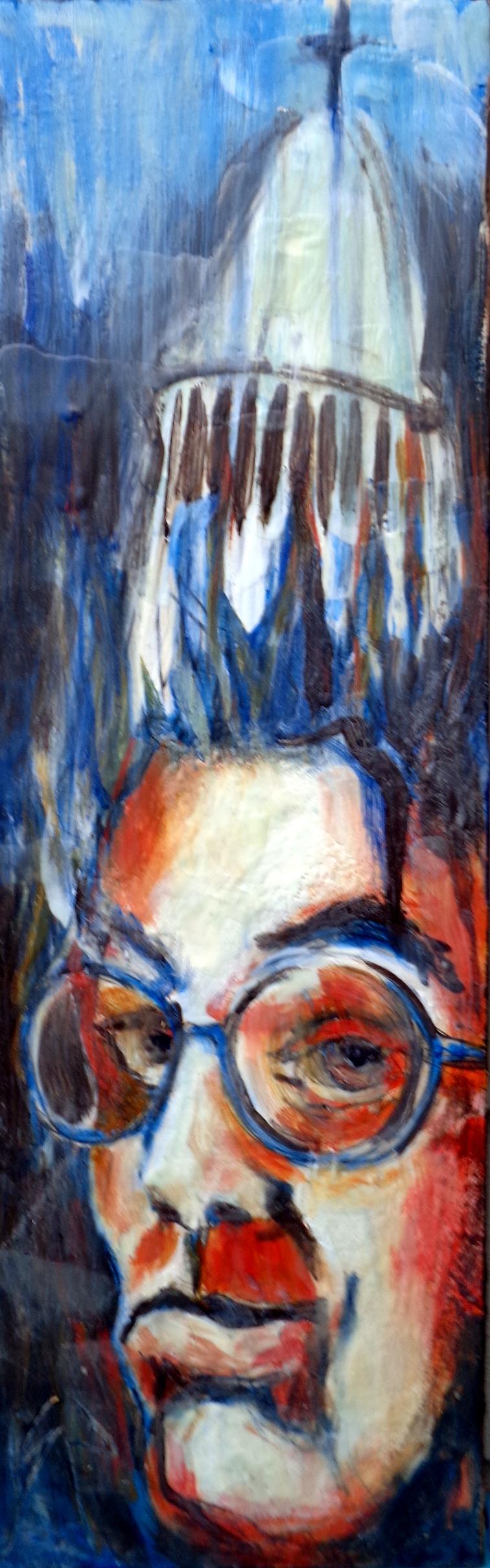 """Self Righteous"" Tin Collage/Encaustic"