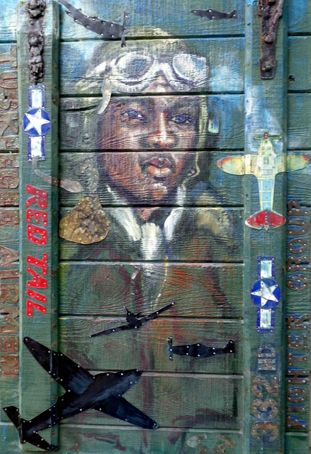 """American Hero"" 36x24"" Tin Collage/Encaustic SOLD"