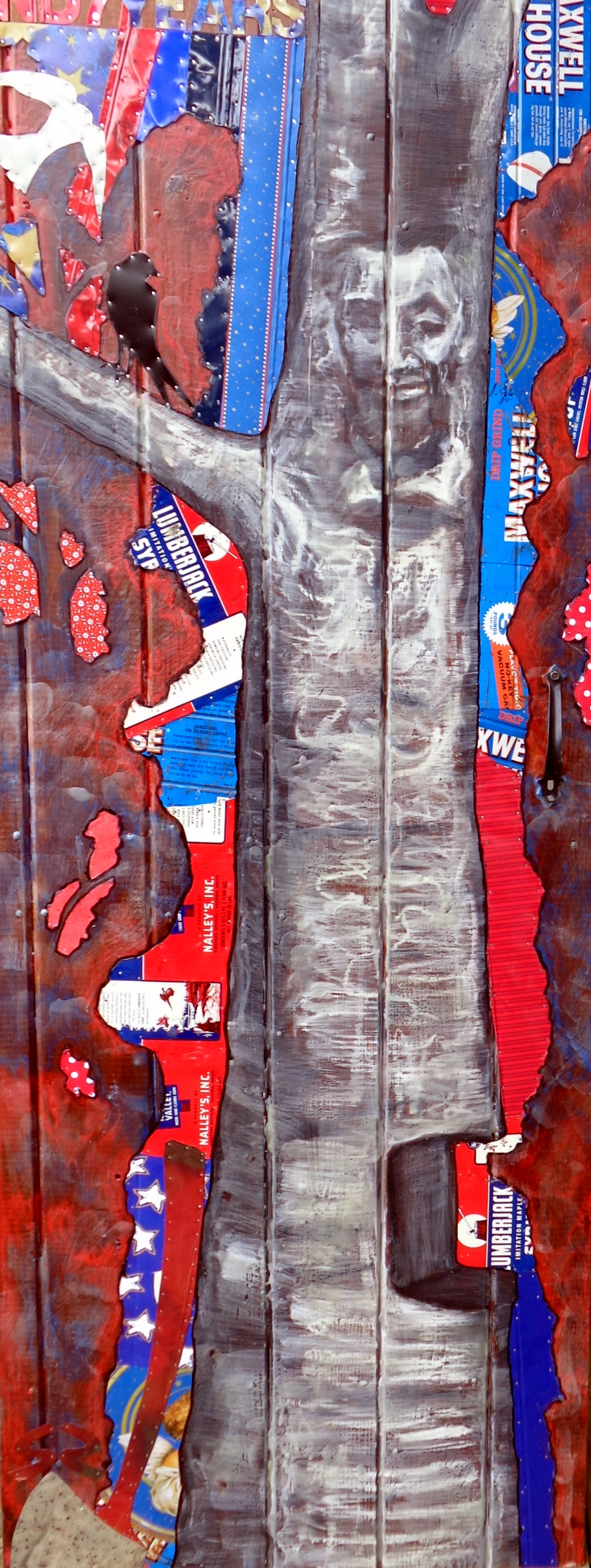"""Lincoln Log""76x28"" Tin Collage/Encaustic"