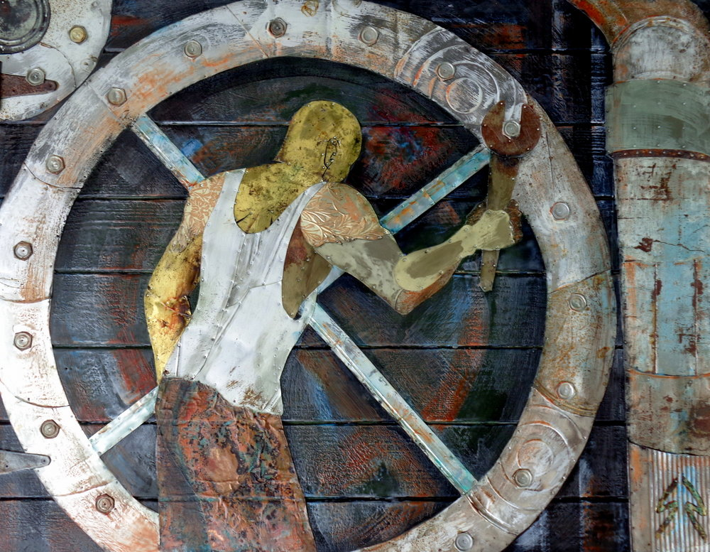 """""""Can Man & The Machine"""" 37x49"""" Tin Collage/Encaustic SOLD"""