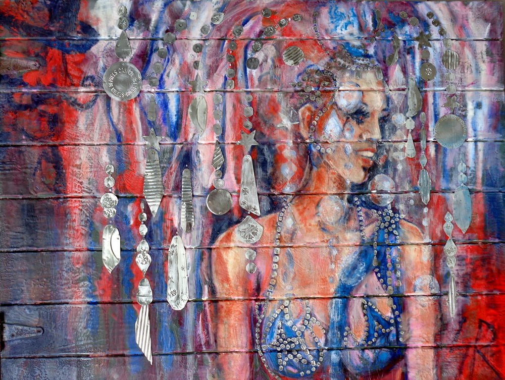 """""""Show Girl Chandelier"""" 37x49"""" Tin Collage/Encaustic"""
