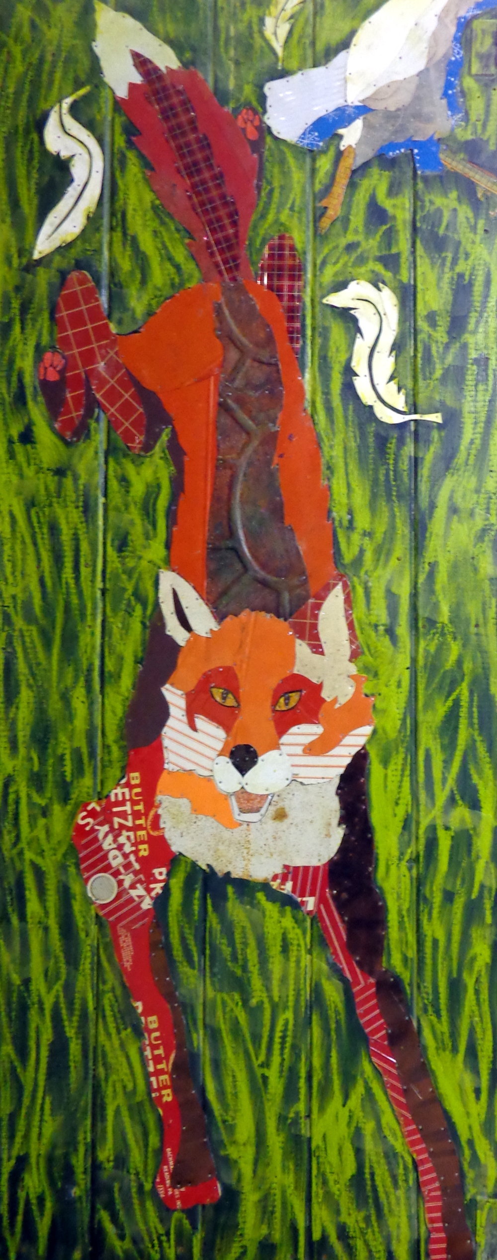"""""""Red Flyer"""" 62x32"""" Tin Collage/Encaustic"""