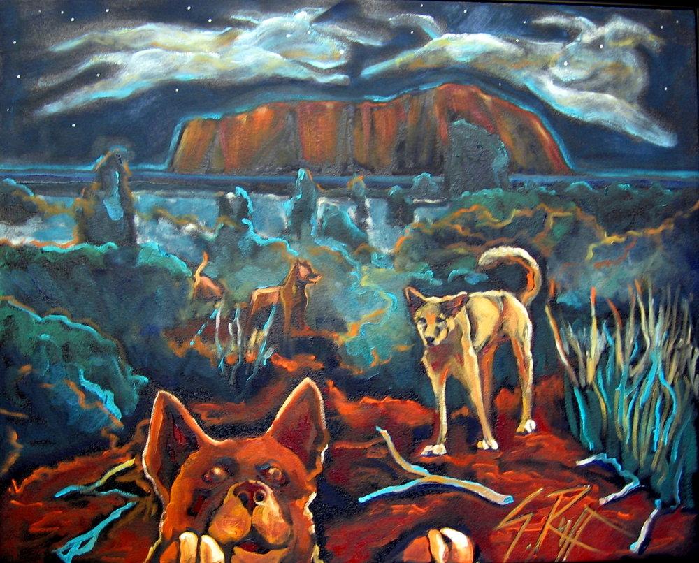 """""""Dogs Night At Uluru"""" 24x30"""""""