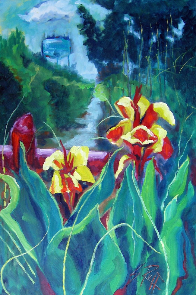 """Cannas & Water Tower"" 18x27"" SOLD"