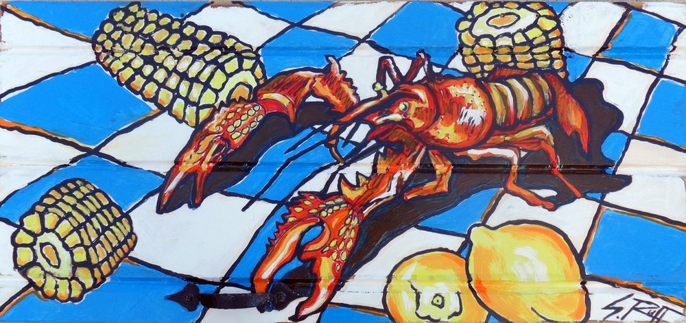 """L'erevisse Sur La Nappe (Crayfish On The Tablecloth)"" 16x28"""