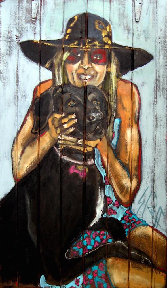 """""""I Love My Dog"""" Oil On Shutter SOLD"""