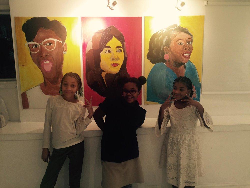 Upstanders exhibit Stars Mentoring painting trio close up.jpg